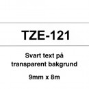 Märkband Brother TZe121 9mm Svart/Transparent